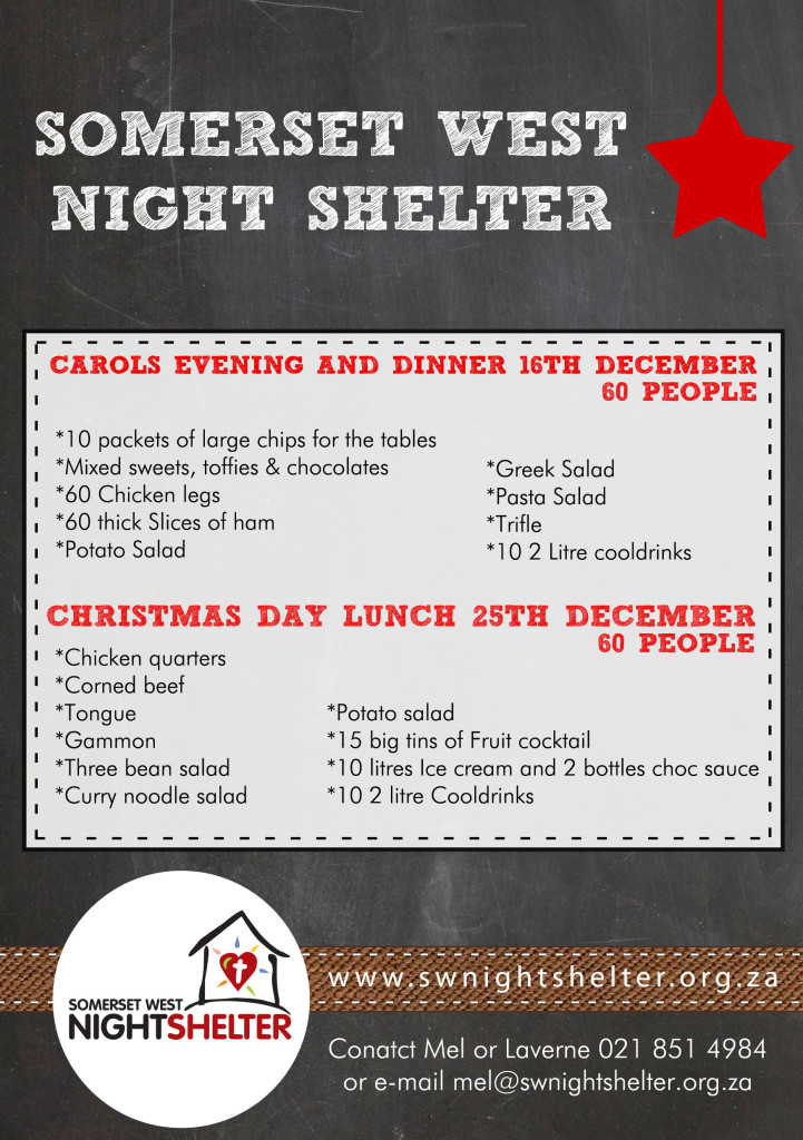 SW nightshelter WISH LIST